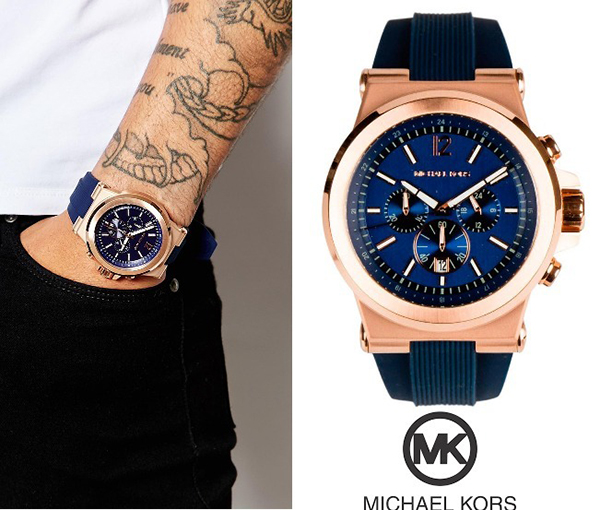 1 Đồng Hồ Michael Kors Watch Men's Chronograph Navy Silicone Strap 48mm MK8295