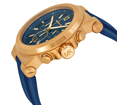 2 Đồng Hồ Michael Kors Watch Men's Chronograph Navy Silicone Strap 48mm MK8295